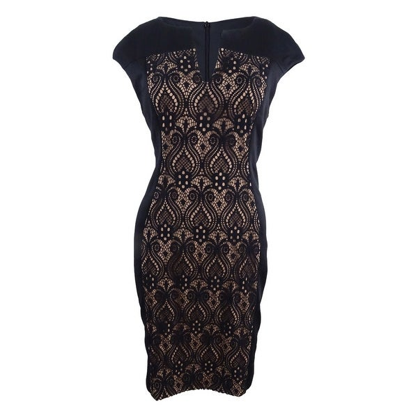2d32186cca14c Connected Women's Petite Printed Colorblocked Sheath Dress (8P, Black/Gold)  - Black/Gold - 8P