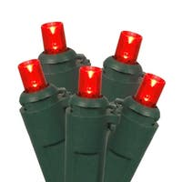 Set of 100 Red LED Wide Angle Christmas Lights - Green Wire