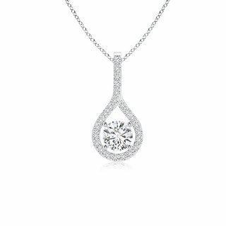 Angara 4mm Prong-Set Floating Diamond Drop Pendant with Accents in Platinum - White H-I