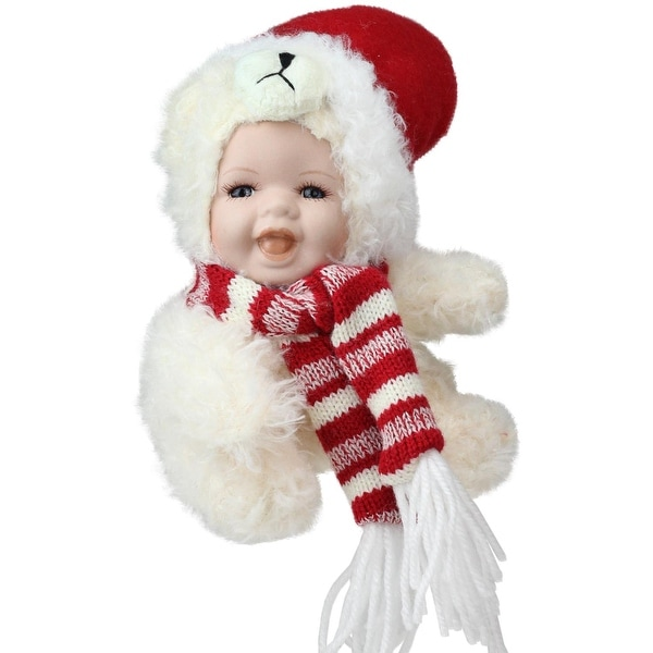 "5.75"" Porcelain Baby in Polar Bear Costume with Santa Hat Collectible Christmas Doll - WHITE"