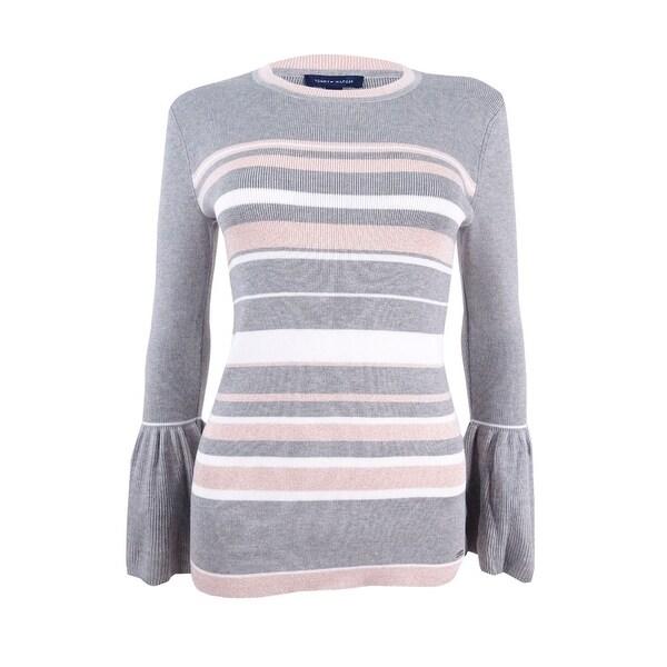 cbdaa3f60bd Shop Tommy Hilfiger Women s Peplum-Sleeve Sweater - Grey Melange - On Sale  - Free Shipping On Orders Over  45 - Overstock - 24242475