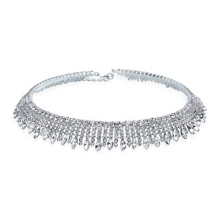 Bling Jewelry Art Deco Style Crystal Bridal Choker Sterling Silver Necklace 13 Inches
