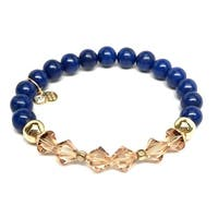 """Blue Jade & Crystal Chloe 7"""" Bracelet"""