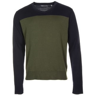 Vince Cotton Colorblock V-Neck Sweater Olive Green and Navy X-Large - XL