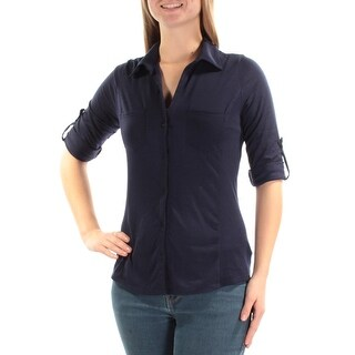 ALMOST FAMOUS $34 Womens New 1230 Navy Collared Long Sleeve Top M Juniors B+B