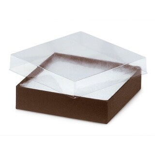 "Pack of 100, Solid 3.5 x 3.5 x 1"" Clear Lid Jewelry Box"