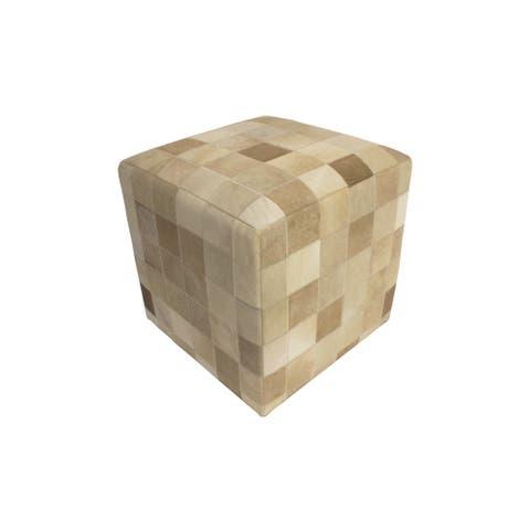 """Noori Home Geometric Hide Pouf Lucas, Brown (18""""x18""""x18"""")"""