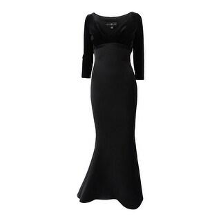 Betsy & Adam Women's Velvet & Scuba Plunge Gown - Black