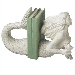 """Set of 2 Ivory White Contemporary Nautical Mermaid Bookends 11"""""""
