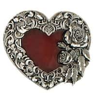 Red Enamel Heart Belt Buckle