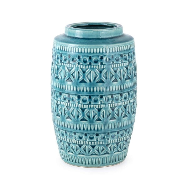 """9.75"""" Turquoise Cooper Embossed Surface Pattern Large Vase - N/A"""