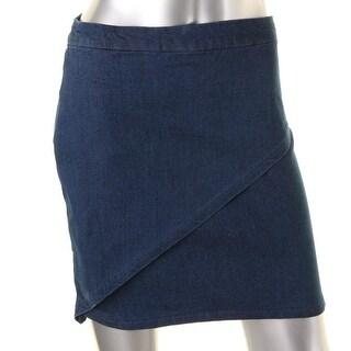 Stoosh Womens Faux Wrap Above Knee Denim Skirt - S