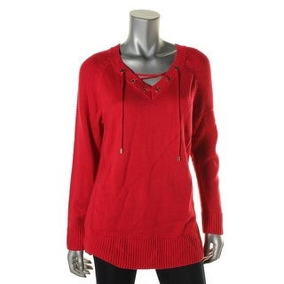 Calvin Klein Womens Knit Ribbed Trim Pullover Sweater