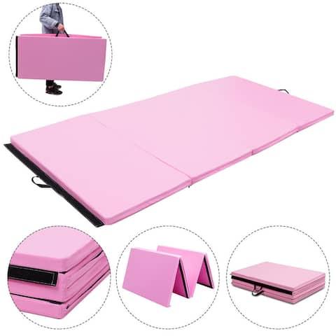 Gymax 4'x8'x2'' Gymnastics Mat Thick Folding Panel Aerobics Exercise