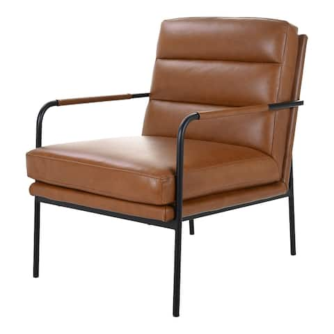 Aurelle Home Rustic Leather and Iron Accent Chair