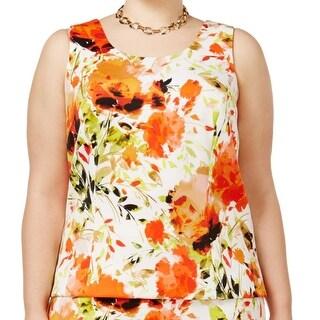 Kasper Velencia Orange Women Size 14W Plus Scuba Floral-Print Blouse