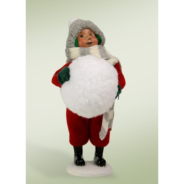 "10"" Snow Day Boy with Big Winter Snowball Christmas Figure"