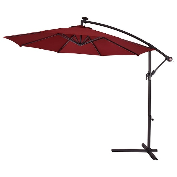 Costway 10u0027 Hanging Solar LED Umbrella Patio Sun Shade Offset Market W/Base  Burgundy   Free Shipping Today   Overstock.com   22217256