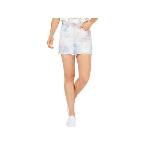 Hudson Womens Viper Denim Skirt Distressed Light Wash