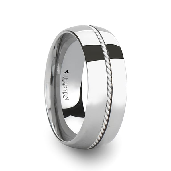 Lyon Braided Silver Inlay Domed Tungsten Ring