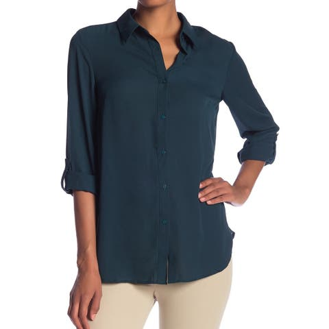 Adrianna Papell Green Womens Size Large L Roll-Tab Button Down Shirt
