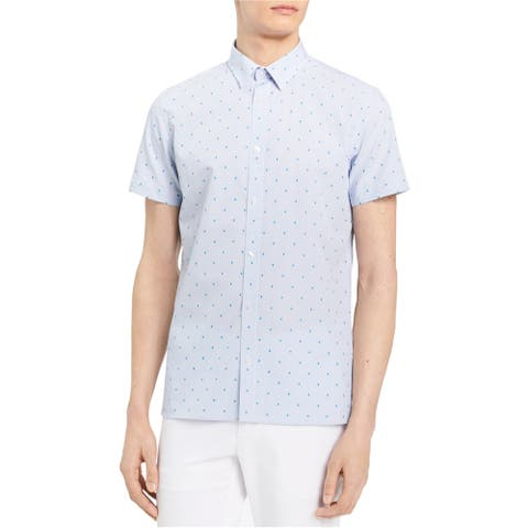 Calvin Klein Mens Colorblock Dobby Button Up Shirt, Blue, X-Small
