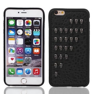 Faux Leather Protector Shell Skin Case Cover Black for Apple iPhone 6 Plus 5.5