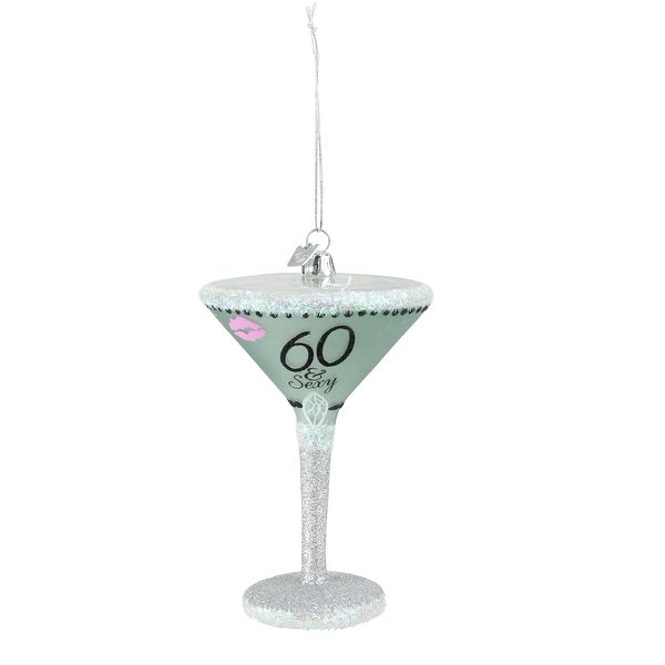 """Happy Hour Mouth Blown Glass """"60 & Sexy"""" Martini Cocktail Christmas Ornament"""