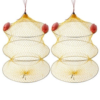 """Unique Bargains 2 Pcs 18.9"""" Height 2 Sections Foldable Fishing Landing Net Fish Keepnet Cage Yellow Silver Tone Red"""