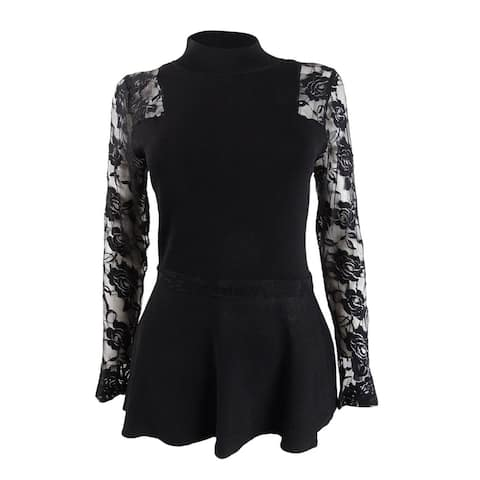 INC International Concepts Women's Petite Lace Peplum Top (PS, Deep Black) - PS
