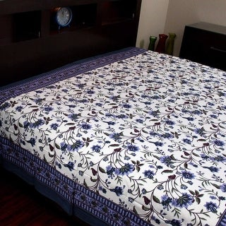 Handmade Cotton Floral Tapestry Throw Tablecloth Bedspread Blue Brown Twin 72x106 inch Full 90 x 106 inches