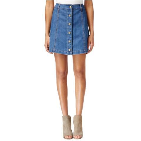 Rachel Roy Womens Denim Mini A-Line Skirt