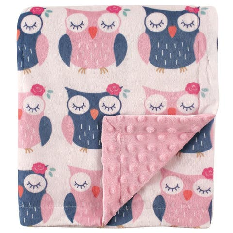 Pink and Blue Owls Baby Printed Mink Blanket