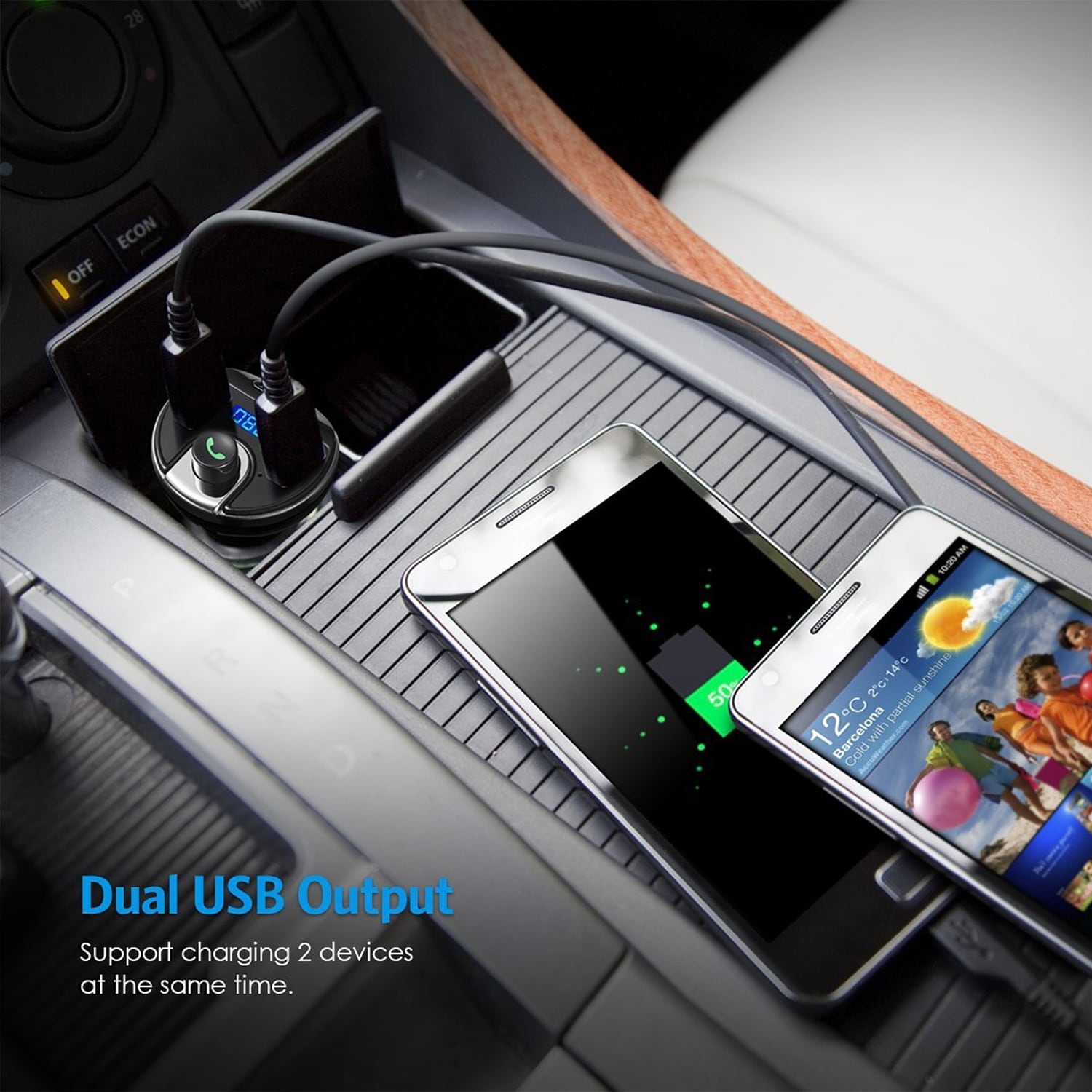 AGPtek Bluetooth Wireless In-Car FM Transmitter Radio Adapter Car Kit  Universal Car Charger for iPhone Samsung etc  - SIZE