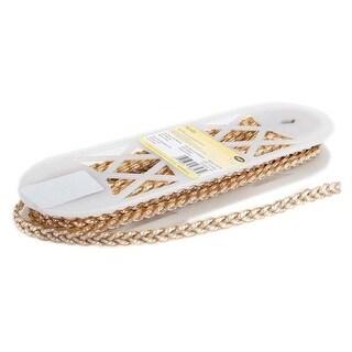 "White W/Gold Metallic - Simplicity Metallic Braid Trim .375""X10yd"