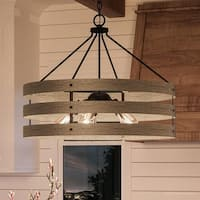 """Luxury Modern Farmhouse Pendant Light, 22.75""""H x 27.75""""W, with Rustic Style, Charcoal  Finish by Urban Ambiance"""