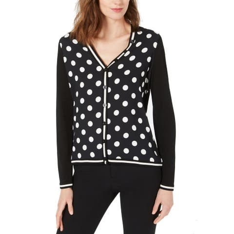 Anne Klein Women's Sweater Deep Black Size XXS Polka Dot Cardigan