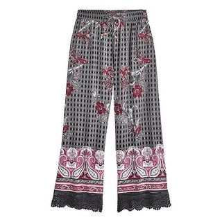 Women's Paisley Lounge Cropped Pants - Side Pockets and Elastic Waistband
