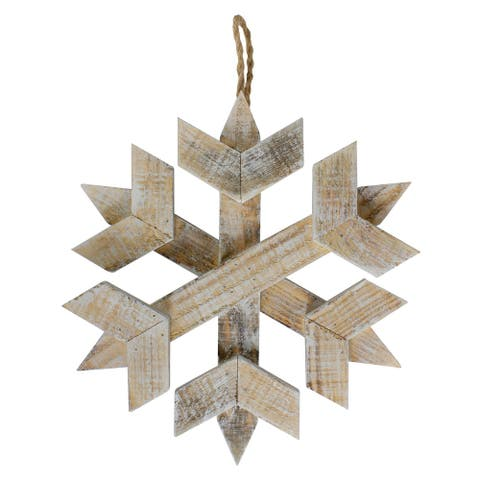 "11.5"" Wooden Hanging Snowflake Christmas Ornament"