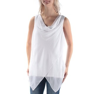 Womens White Sleeveless Cowl Neck Casual Top Size M