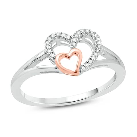 Cali Trove 10kt White Gold & Rose Plated 1/15 CTTDW Diamond Double Heart Ring