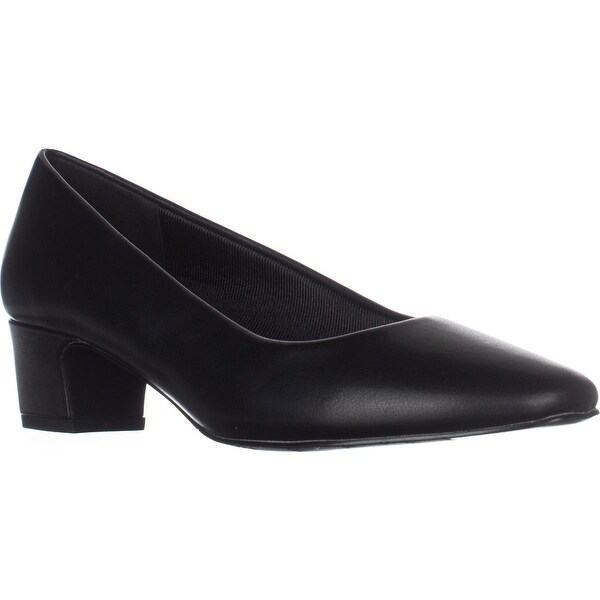 Easy Street Prim Kitten Heel Dress Pumps, Black Smooth