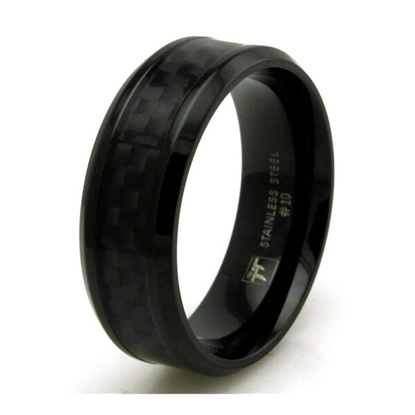 Black Stainless Steel Ring w/ Black Carbon Fiber Inlay