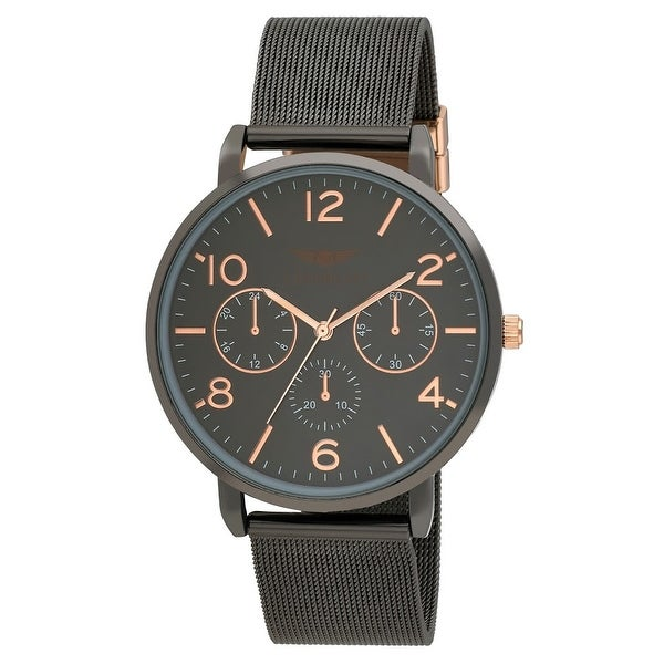 5 Colors Available- Mens Faux Chrono Mesh Two Tone Dial Bracelet Watch. Opens flyout.