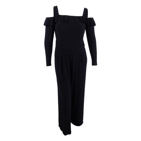 American Living Women's Off-The-Shoulder Wide-Leg Jumpsuit - Black