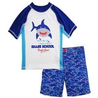 iXtreme Boys Shark School Short Sleeve Rash Shirt Guard Swim Trunk Board Short