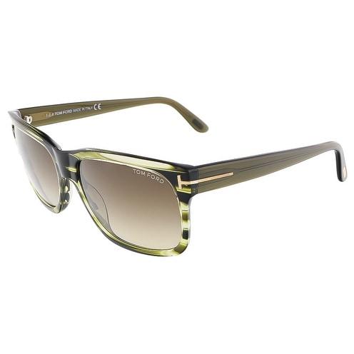 75100ab0c6eb2 Tom Ford FT0376 S 98K BARBARA Olive Green Rectangular sunglasses - 58-16-.  Click to Zoom
