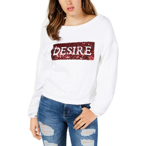 Guess Womens Desire Pullover Sweater Sequined Long Sleeves - M