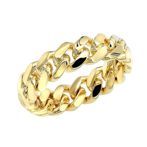 14K Gold Miami Cuban Link Chain Ring for Men by Luxurman