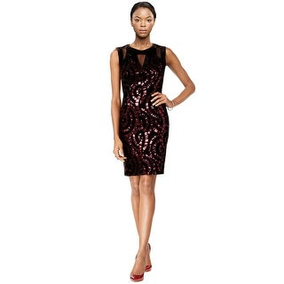 Jax Sequined Velvet Illusion Keyhole Sheath Dress - 4